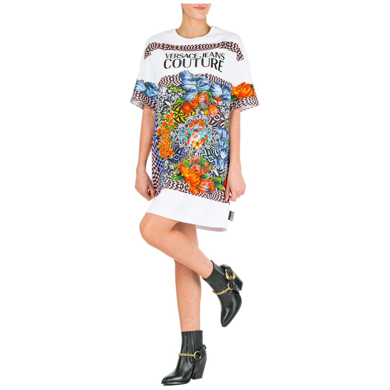 Versace Jeans Couture Short Mini Dress Short Sleeve Optical Flowers