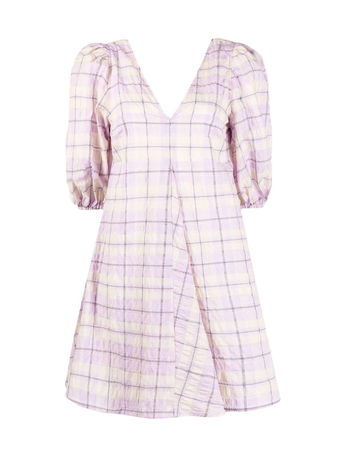 Ganni Seersucker Check Short Dress