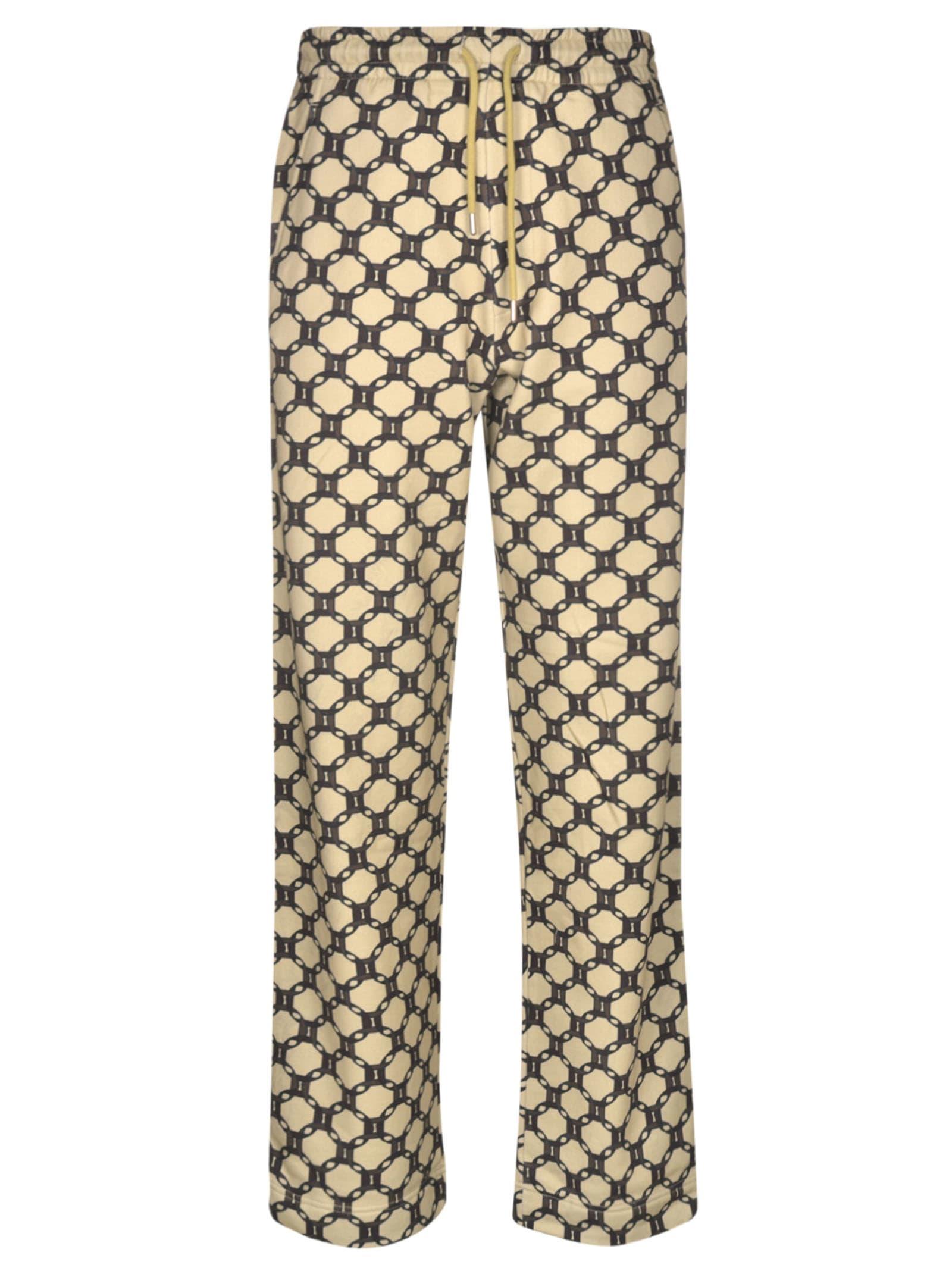 Dries Van Noten Long Length Printed Trousers In Ecru