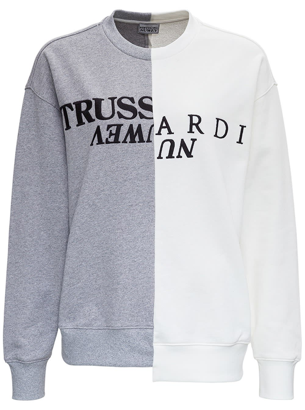 Trussardi Cottons BICOLOR JERSEY SWEATSHIRT WITH LOGO
