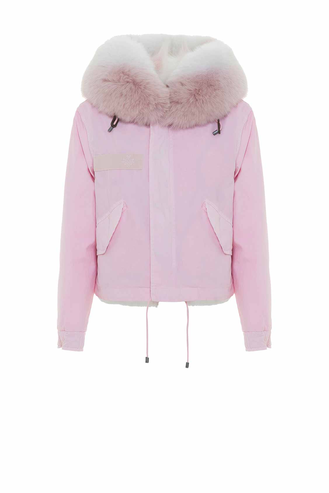 Jazzy Cropped Parka For Woman With Fox Fur